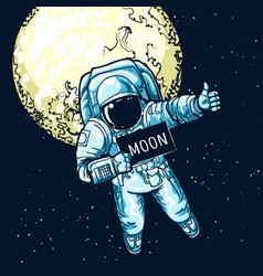 astronaut hitchhiking vector image