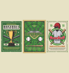 Baseball sport balls bats trophy cup play field vector