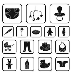 birth of a baby black icons in set collection for vector image