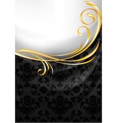 Black fabric curtain gold vignette vector
