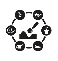 black gardening icon set vector image