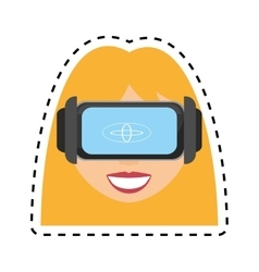 Blonde girl virtual reality glasses technology vector