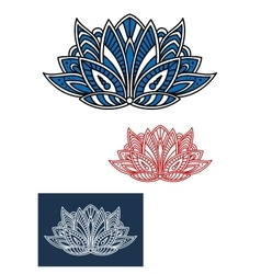 Blue paisley flower with turkish ornament vector image