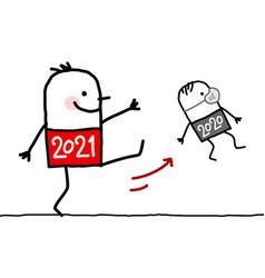 Cartoon big 2021 man kicking out a small 2020 vector