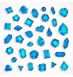 Cartoon doodle blue gems background vector