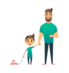 Cartoon father and son man and boy happy vector