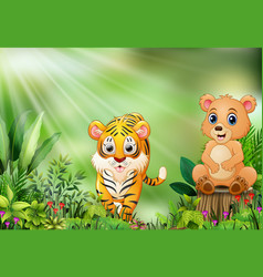 Cartoon of the nature scene with a bear sitting on vector