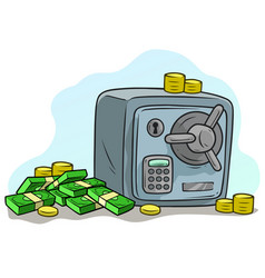 Cartoon steel safe box with money stack and coins vector