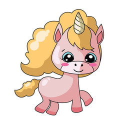 cartoon unicorn with sweet pony vector image