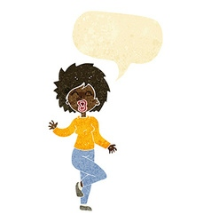 Cartoon woman dancing with speech bubble vector