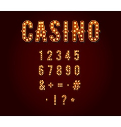 Casino or Broadway Signs style light bulb Digits vector