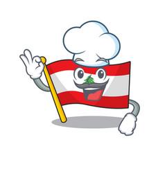 Chef flag lebanon raised above mascot pole vector