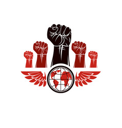 Clenched fists of angry people winged emblem vector