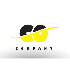 Co c o black and yellow letter logo with swoosh vector