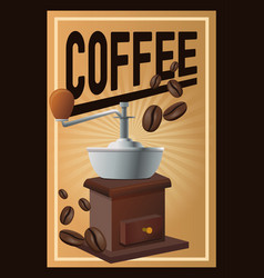 Color poster coffee with linear glow and grinding vector