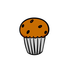 colorful cute cupcake on white background vector image