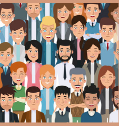 Colorful poster closeup half body executive people vector