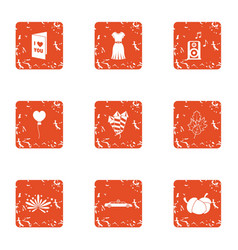 Congratulations to beloved icons set grunge style vector