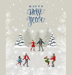 Couples winter card vector