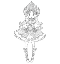 Cute fairy girl in flowers doodle vector