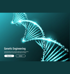 dna molecula helix with glowing lights particles vector image