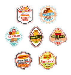 Fast food icons for fastfood cinema bistro vector