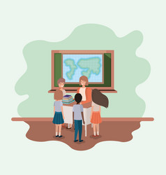 female teacher in the geography class with vector image