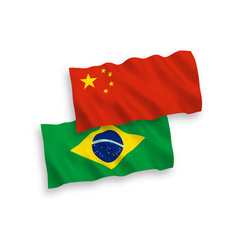 flags brazil and china on a white background vector image