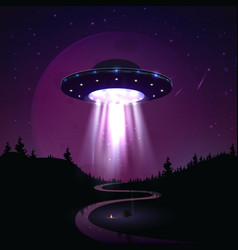 flying ufo over night landscape vector image
