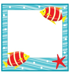 framework for photos sea theme fishes vector image