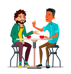 Friends in cafe two man drinking coffee vector