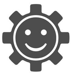 Gear smile flat icon vector