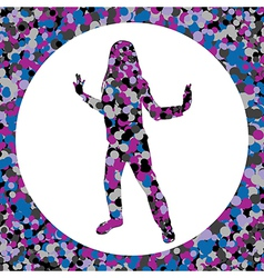 Girl silhouette made of bubbles vector image
