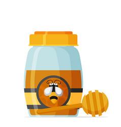 glass mason jar of honey in modern flat vector image