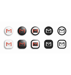 gmail modern 3d and flat icons set vector image