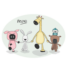 group of happy animals holding hand and walking vector image
