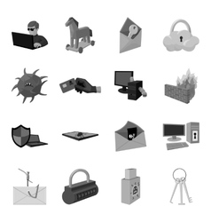 Hackers and hacking set icons in monochrome style vector