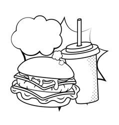Hamburger and soda black and white vector