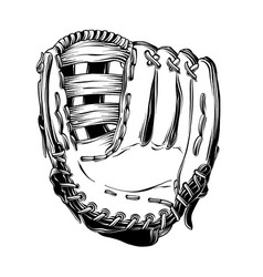 Hand drawn sketch of baseball glove in black vector