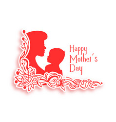 Happy mothers day background with mom and child vector