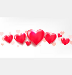 hearts are lined up horizontally 3d balloons in vector image