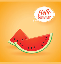 hello summer card banner with watermelon paper vector image