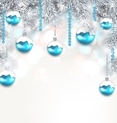 Holiday Fir Branches and Christmas Blue Ball vector
