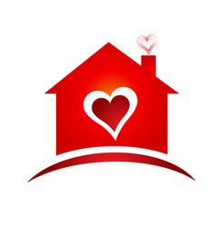 House of heart logo creative design vector