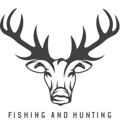 hunting and fishing emblem with deer and fish vector image