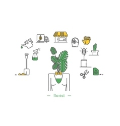 Icons objects from life a florist vector
