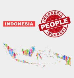 Indonesia map population people and unclean seal vector