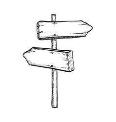Ink sketch of wooden signpost vector