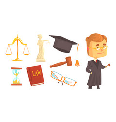 Lawyer attributes and judge wearing gown vector
