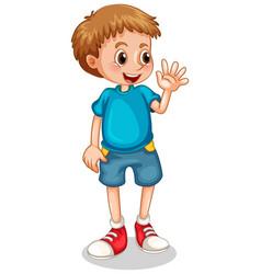 Little boy waving hand on white background vector